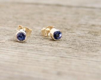 Blue Sapphire Stud Earrings - Lab-Created Blue Sapphire Stud Earrings, tiny sapphire earrings, thin sapphire earrings, minimalist earrings