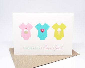 Baby Girl Card | It's a Girl Card | Baby Girl Rompers | BBYGRL037 | Congratulations Card | New Baby Card | Girl Baby Card | Newborn Card
