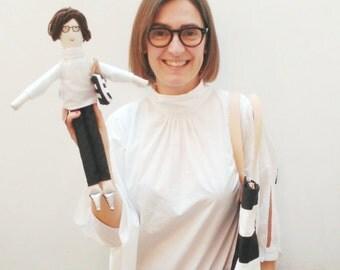Personalized fabric doll, selfie doll, mini-me stuffed doll, portrait doll, likeness, unique girlfriend family birthday gift