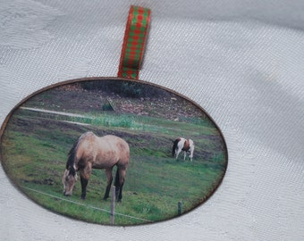 wood photo Christmas Tree ornament Horse photograph