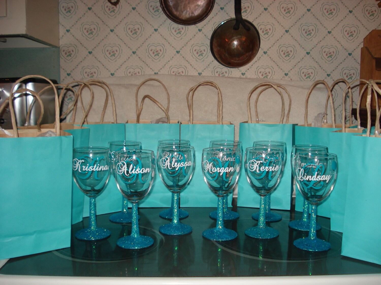 Custom Vinyl Wine Glass Decals Bridal Party From - Wine glass custom vinyl stickers