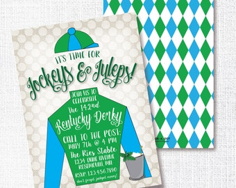 Jockey Derby Party Invitation, Printable, Horse Racing Party Invite, Mint Julep, Jockeys And Juleps, blue, Green, Horse Birthday, Kentucky