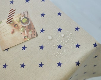 Laminated Cotton Linen Fabric - Vintage Navy Stars - By the Yard 87073