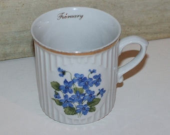 Vintage Crown D Czechoslovakia February Violet Porcelain Mug- Flower of the Month- Cottage Decor -Collectibles- Home Decor- Kitchen & Dining