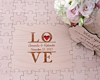Wedding Guest Book Puzzle, Love Puzzle Guest Book, Wedding Puzzle Guest Book, Wood Puzzle Guestbook, Wedding Guest Book - 100 pieces