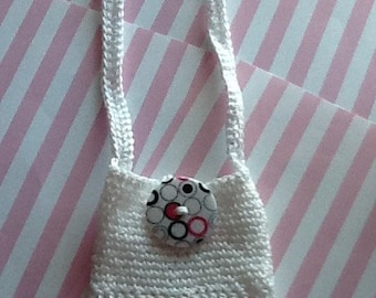 Cell Phone Cozy CP871-442 (Holder/Cover) - White Lace and blk/wht/pink button