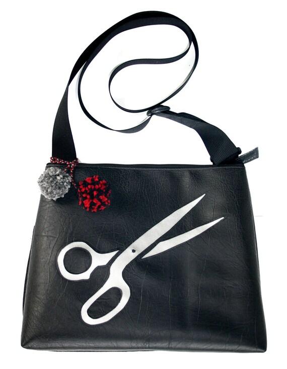 scissors, silver, black, pom poms, large, cross body bag