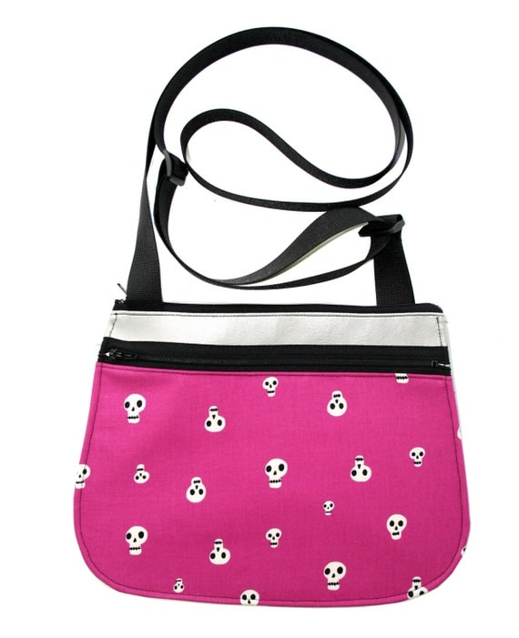 Skulls, hot pink, silver vinyl, cross body, vegan leather, zipper top