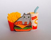 Burger Cat enamel lapel pin  Cat pin  Enamel pin  Enamel cat pin  I like cats  Cat lapel pin  Burger pin  Cat gifts  Cats  Cat