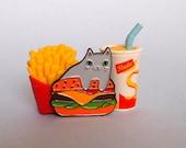 Burger Cat enamel lapel pin - Cat pin - Enamel pin - Enamel cat pin - I like cats - Cat lapel pin - Burger pin - Cat gifts - Cats - Cat