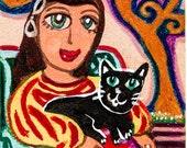 Cat And Girl, Black Cat, Girl And Cat Print, Cat Art, Girl's Room , Cat Lover, Cat Decor, Cat Print, Comforting Friend by Paula DiLeo_13116