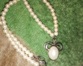 White Pearl Faux Pendant Necklace