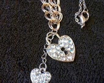 Heart Lock And Key Rhinestone Necklace