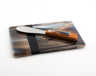 Fused Glass Tray, Cheese Board Set, Glass Cutting Board, Matching Cheese Knife, Kitchen Accessories, Unique Hostess Gift, Gifts for Foodies