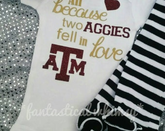 All because two Aggies fell in love onesie