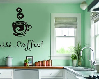 Ahhh...Coffee! Kitchen Family Vinyl Wall Decal - Large Size Options Wall quotes - Coffee Mug with Swirls Steam