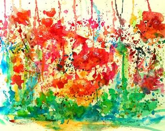 Summer Garden No. 2, ORIGINAL watercolor painting, not a print, FREE SHIPPING