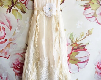 ivory & off white applique knife pleated vintage boho wedding dress by mermaid miss Kristin
