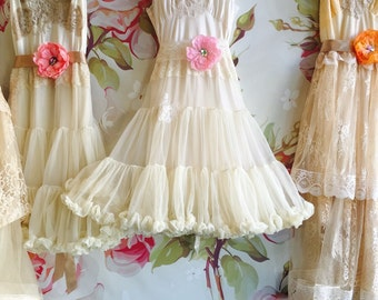 soft white & cream chiffon tiered baby doll dress by mermaid miss k