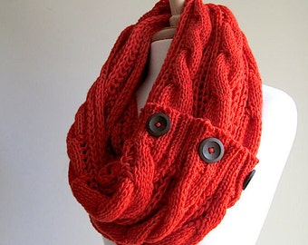SALE Infinity Scarf Braided Cable Lightweight Knit  Circle Loop Orange Neckwarmer Scarves with Buttons Fall Winter Women Girls Accessories