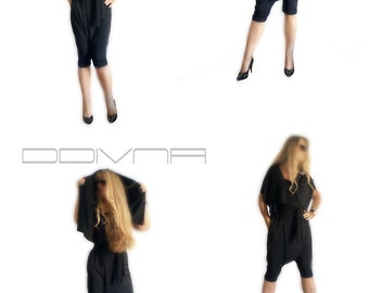 Black jumpsuit slouchy drop-crotch  harem pants