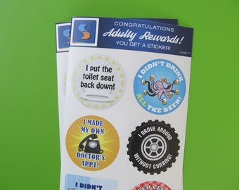8 Adult Men's Reward Stickers Series 3 You Adulted Today Men Congratulations humor snarky sarcastic decals man male sticker decal funny
