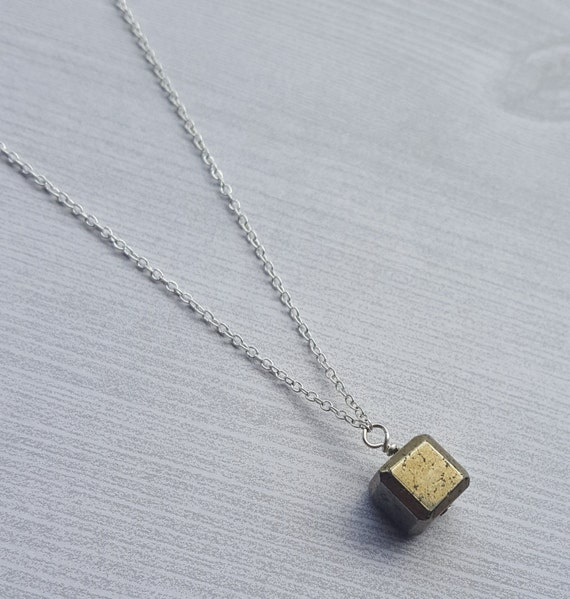 Pyrite Cube Necklace Empath Energy Shield Naturally