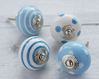 Blue Ceramic Porcelain Spotted striped Polka dot colourful Striped Cupboard Kitchen Drawer Hardware