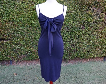 90s Navy Blue Dress, Blue Slinky Dress, Navy Fitted Dress, Spaghetti Straps, 90's Grunge, Mid Length Dress, Stretch Material, 90's Dress