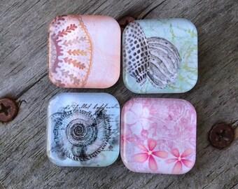 Seashell magnets, Glass magnets, Beach decor,  Beach Magnets, Handmade Fridge Magnets, Kitchen Magnets, Kitchen Decor, Office decor