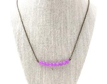 fuschia jade bar necklace with antique bronze chain - fuschia necklace, pink necklace, bar necklace, pink bar necklace, antique bronze, bead