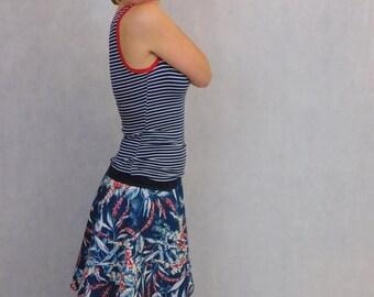 Flower Skirt, Blue Flower Skirt, Hawaii Skirt, Flirty Skirt, Swing Skirt, Flower Swing Skirt, Blue Skirt with Flowers, Blue Swing Skirt