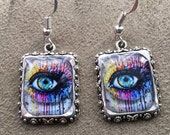 Eyeballs Eyes Earrings Blue Steampunk Picture Silver 3D Dimensional