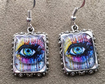 Eyeballs Eyes Earrings Blue Steampunk Picture Silver 3D Dimensional Doctor