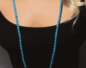 "Extra Long Turquoise Necklace Small Beads Necklace in Photo is 50"" Long Double Wrap"