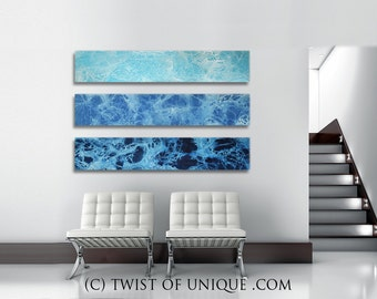 Ocean abstract painting/ CUSTOM 3 set of paintings 48x10 / Watercolor landscape Painting/  Oversized Abstract Painting/ Sea, ocean, beach