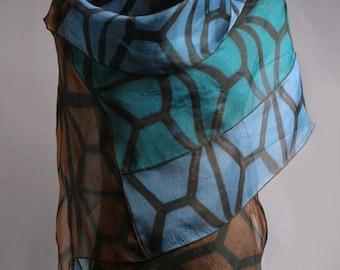 Evening Wrap Hand Dyed Silk Organza in Blue, Teal, Brown, Shibori Silk Wrap
