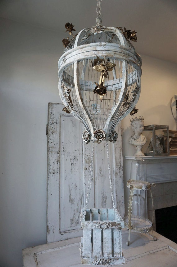 Hot air balloon hanging birdcage shabby cottage chic - Wooden home decor to provide warm atmosphere ...