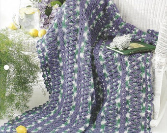 Ruffled Strips Afghan Crochet Pattern, Sofa Throw, Blanket, Home Decor, Bedspread, Bedding, Annie's Crochet Quilt & Afghan