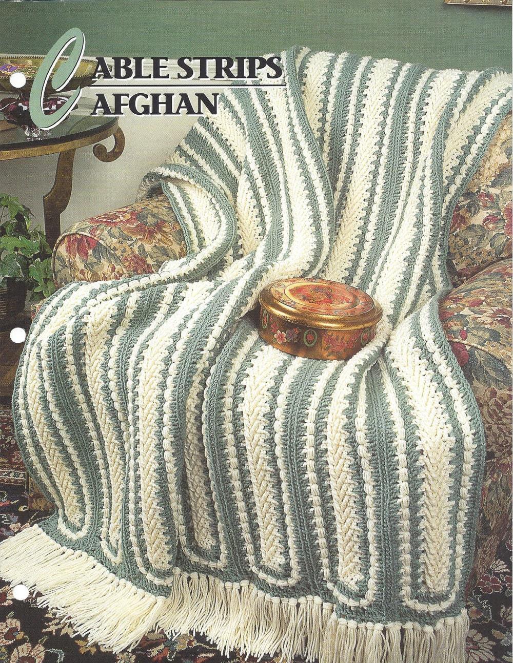 Pattern Afghan Blanket Crochet Cable Strips Afghan
