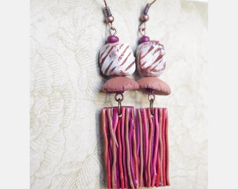 Rustic brown striped earth earring dangle - ethnic jewelry - artisan ceramic and wood bead