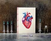 Heart Anatomy Journal. Heart Notebook. Embroidered Notebook. Science Art Journal. Anatomical Journal. Doctor's Gift. Medical Student Gift