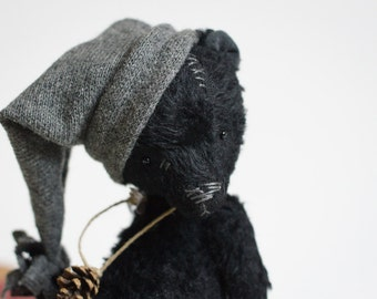 Made To Order Handmade Teddy Bear Black Mohair Plush Stuffed Animal Knitted Hat Soft Toy 7 Inches Free Shipping Gift For Her