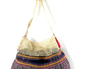 jungle vine hobo, hmong hemp bag, reversible hobo, ooak
