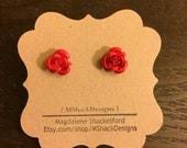 Red aluminum rose stud earrings