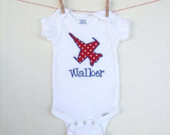 Patriotic Red White and Blue Airplane or Military Logo Custom Applique Onesie