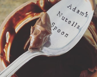 """Hand Stamped """"MY Nutella Spoon"""" Spoon, Vintage Stamped spoon for the Nutella lover"""
