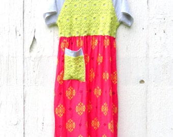 Half Off SALE use code: finishwell, Bohemian Maxi Dress, Up cycled Dress , Hippie Dress, Repurposed clothing, free people inspired dress,