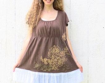Plus size Tunic , Upcycled shirt , womens size 1X-2X  brown tunic dress , babydoll top , eco chic clothing Anthropologie inspired wearloveno