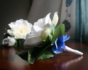 Gardenia Corsage & Boutonniere Set - Creamy White Silk Gardenias accented with Blue Hydrangea Petals - Wedding Flowers, Prom, Summer Chic